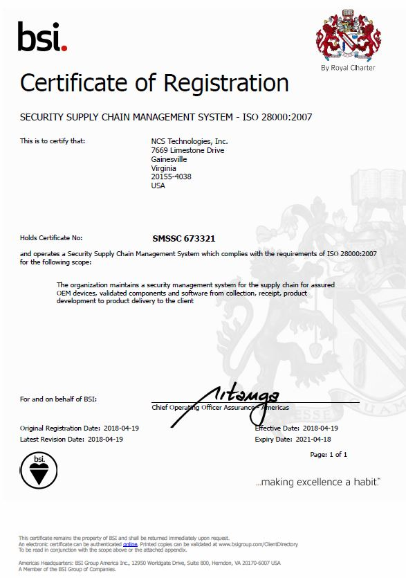 NCS ISO 9001 certification