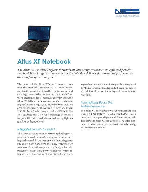 Altus XT, Full Workstation Performance in a Mobile Chassis