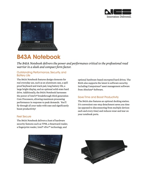 B43A Notebook Balances Performance and Design