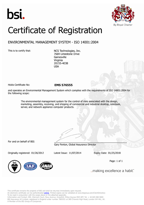 NCS ISO 14001 certification