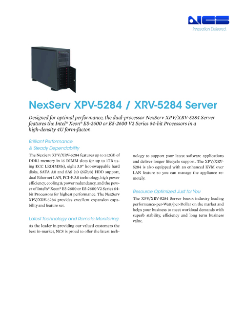 The Dual Processor 4U XPV-5284 Is Designed for Optimal Performance