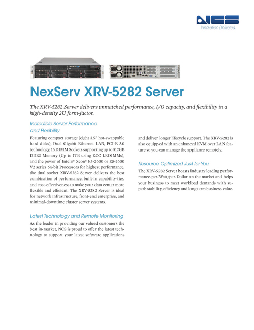 The 2U XRV-5282 Delivers Performance and Flexibility