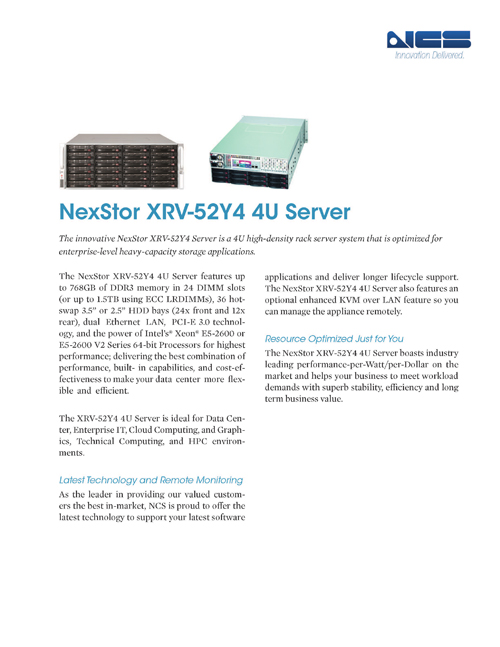 XRV-52Y4 Is Great For Heavy-Capacity Storage Applications