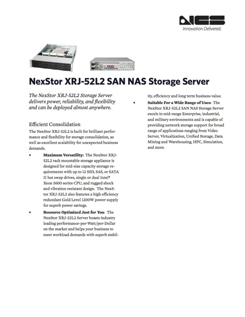 XRJ-52L2 Storage Server Can Be Deployed For Many Uses